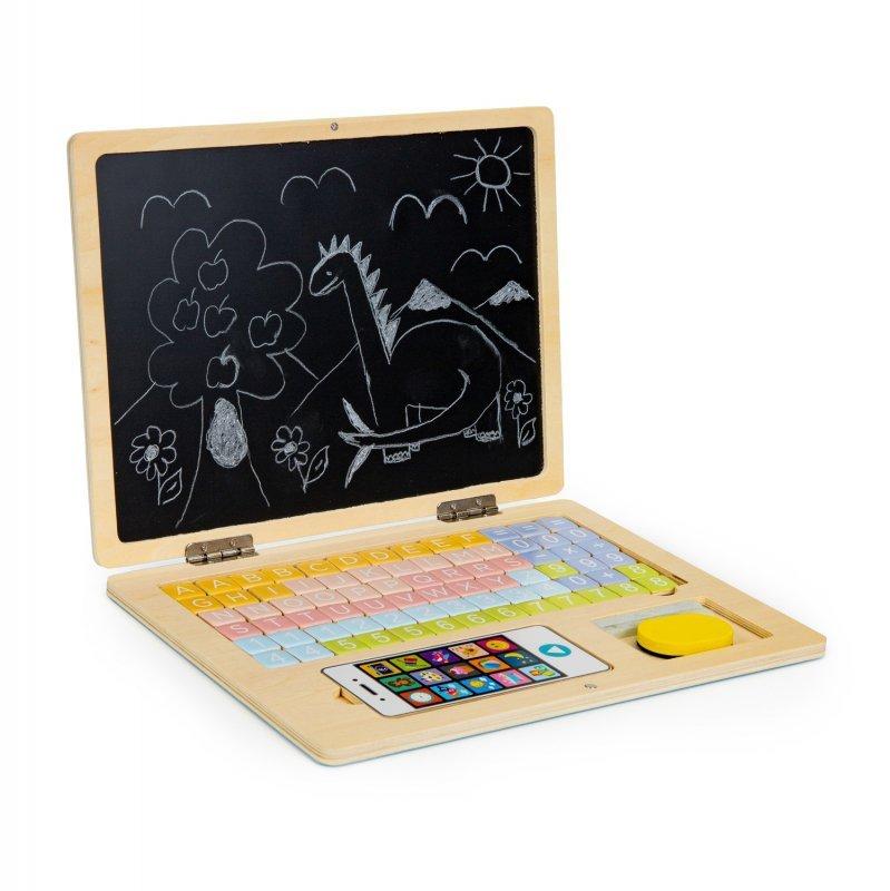 Tablica edukacyjna magnetyczna laptop litery cyfry