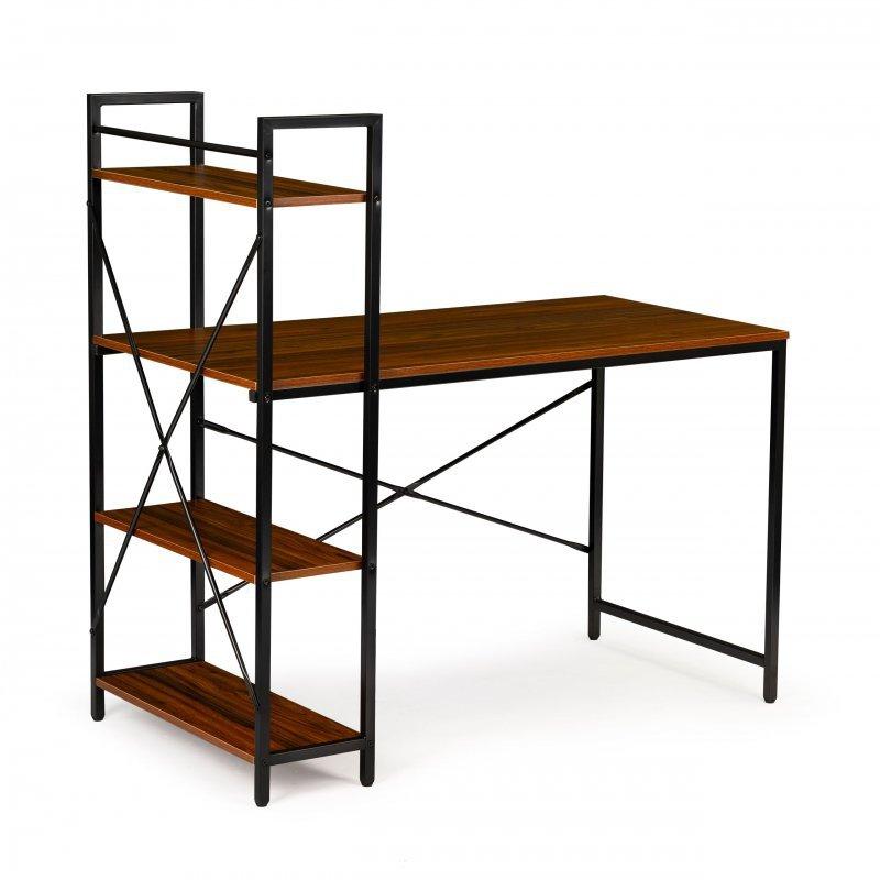 Biurko komputerowe biurowe stół + regał półki LOFT brąz