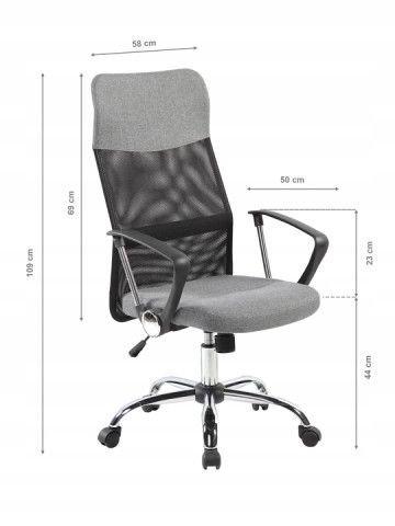Fotel obrotowy biurowy chromowane nogi wysokie oparcie