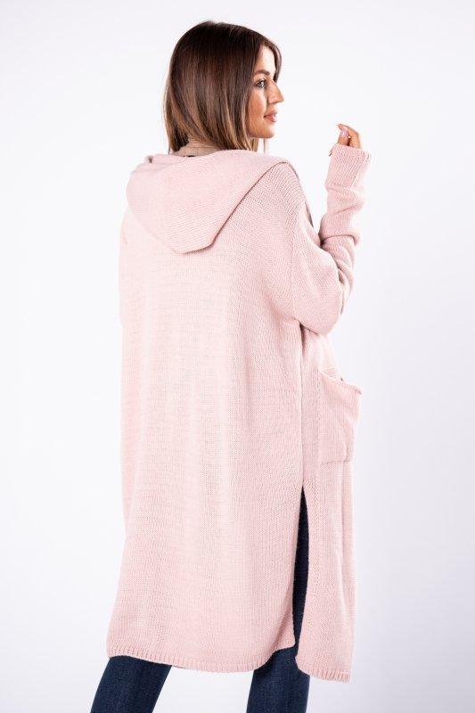 długi sweter z kapturem i rozcięciami po bokach
