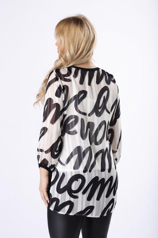tiulowa bluzka z graficznym printem