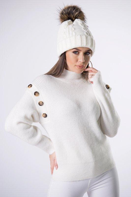 sweter z zakładkami i guzikami na rękawach