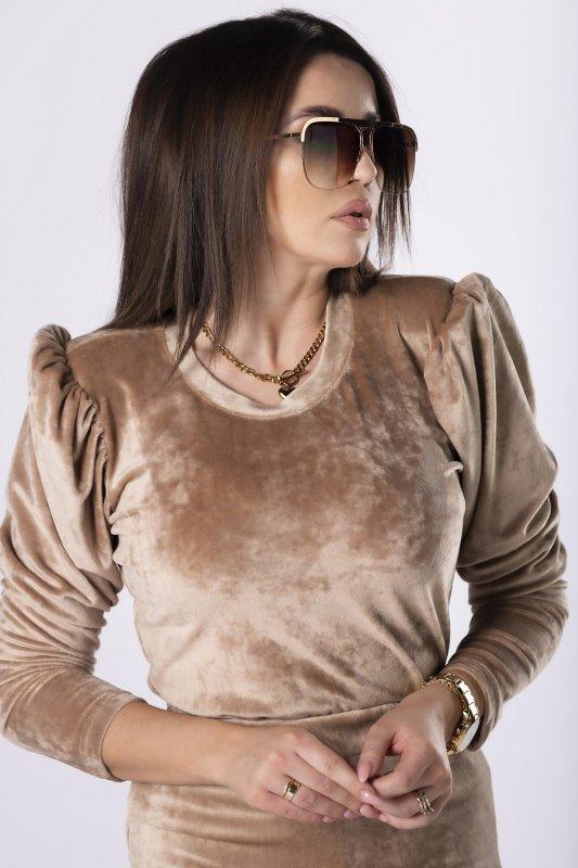 welurowa bluzka z bufkami
