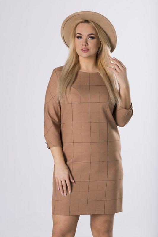 ołówkowa sukienka w kratę