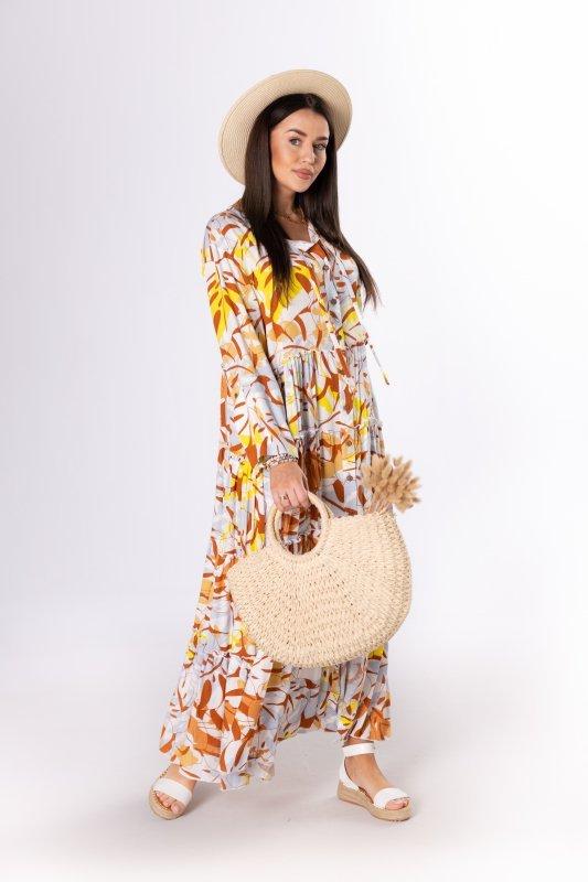 wzorzysta sukienka maxi