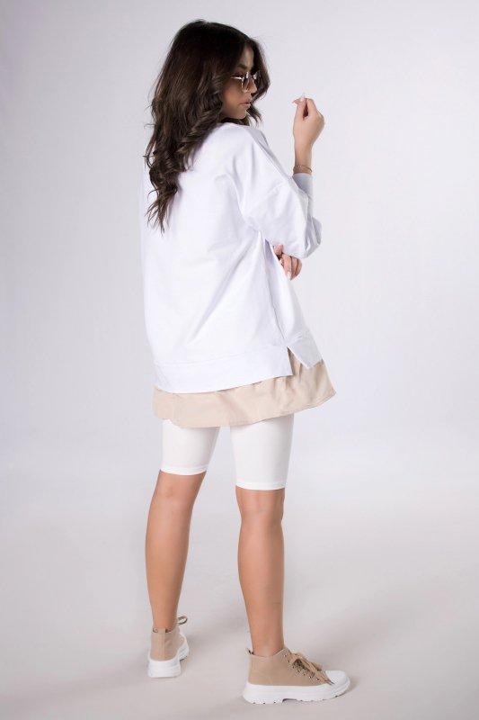 oversize'owa bluza z koszulową wstawką