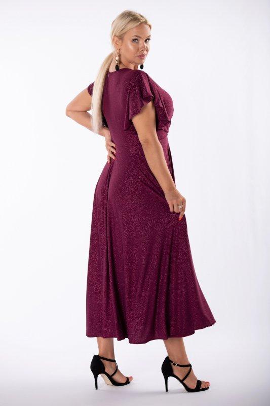 brokatowa sukienka z kopertowym dekoltem