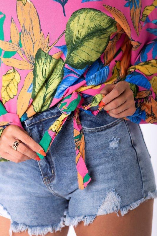 bluzka oversize z wiązaniem