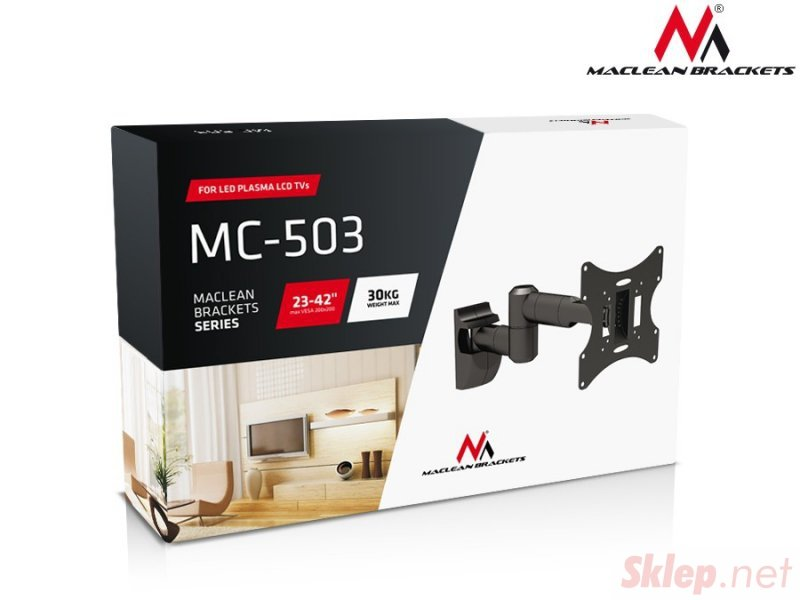 "Uchwyt do telewizora  lub  monitora 23-42"" 30 kg uniwersalny Maclean MC-503A S srebrny max vesa 200x200"