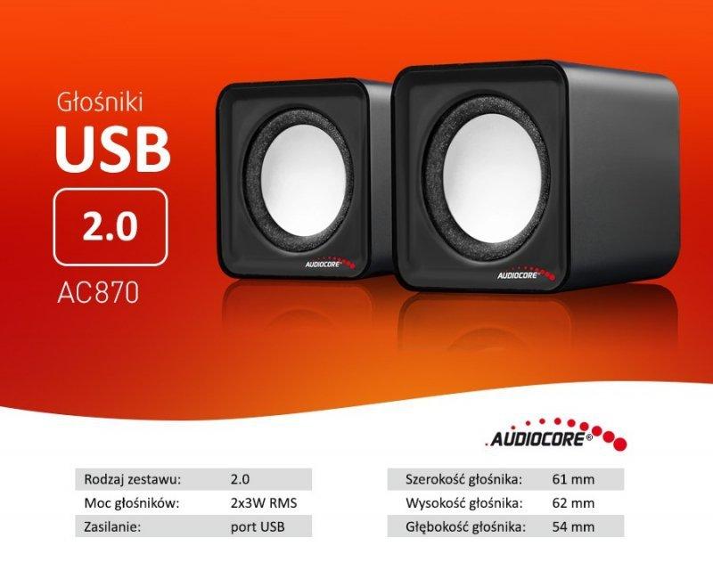 AC870 B 43398 Głośniki komputerowe 6W  USB Silver&Black