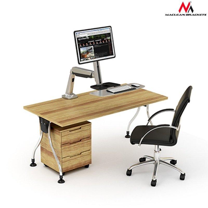 """Uchwyt do monitora oraz klawiatury  Maclean MC-728 do 8kg 13""""-32"""" do pracy stojąco siedzącej"""
