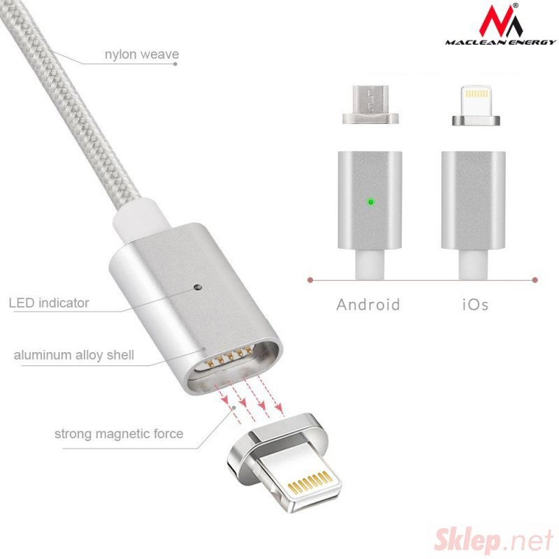 Kabel USB Lightning iPhone magnetyczny silver Maclean MCE161 - Quick & Fast Charge