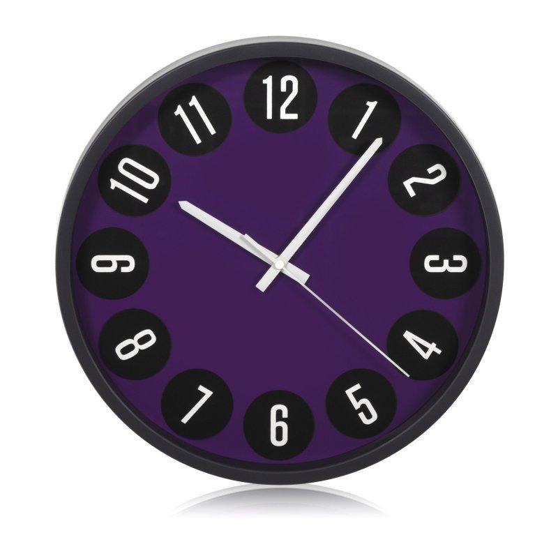 Zegar ścienny czarno-fioletowy 14''  35cm CE50 B