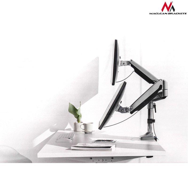 """Uchwyt biurkowy na dwa monitory Maclean ze sprężyną gazową 13""""-32"""" 9kg MC-765 - aluminium"""