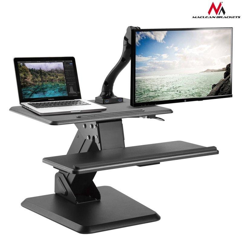 Podstawka biurkowa na klawiaturę i monitor lub laptop czarny MC-792 do pracy stojąco siedzącej - sprężyna gazowa