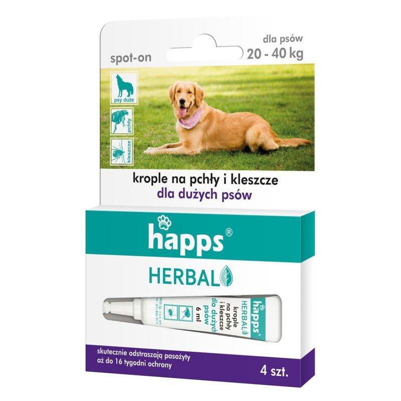 Krople na pchły i kleszcze dla dużych psów Happs Herbal