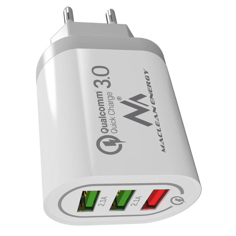 Ładowarka sieciowa 1xQC 3.0  Maclean Energy MCE479 W - biała Qualcomm Quick Charge QC 3.0 - 3.6-6VV/3A, 6-9V/2A, 9-12V/1.5A i 2