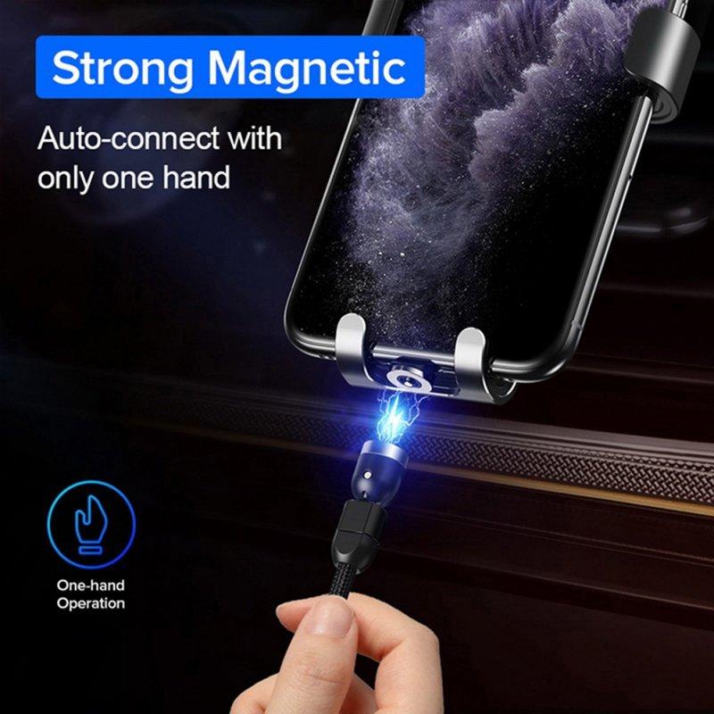 Magnetyczny kabel USB C 3w1 - 1m kątowy Maclean Energy  MCE474  w kolorze czarnym, wspiera Fast Charging 9V/2A,  5V/3A, nylonowy
