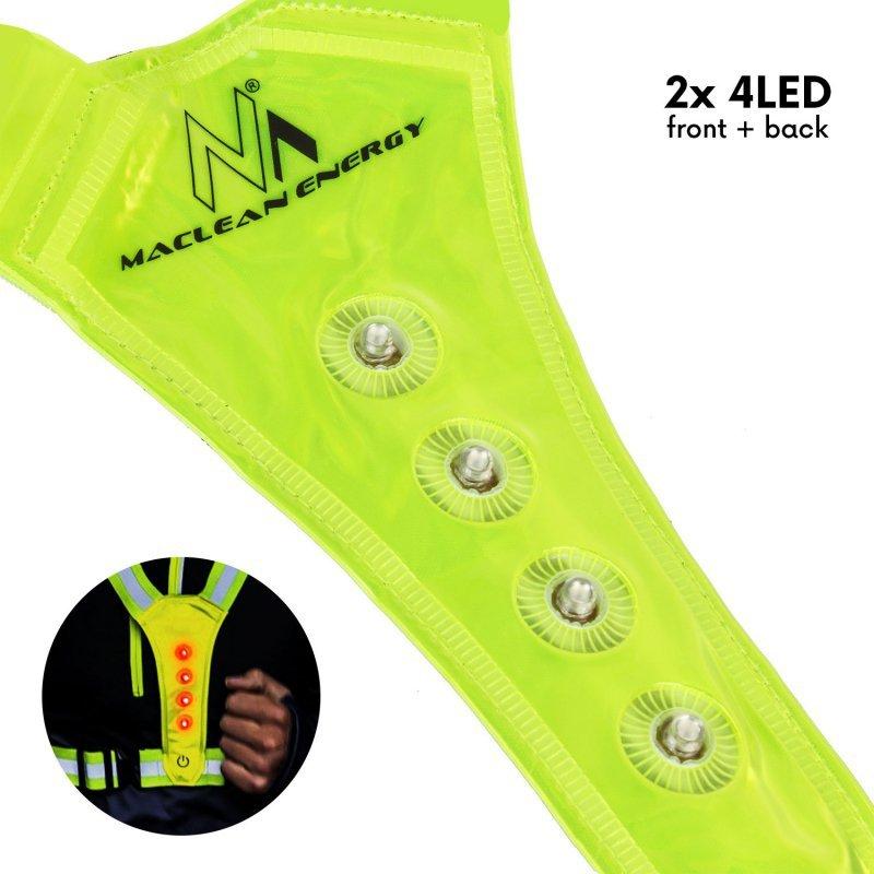 Szelki LED dla biegaczy, rowerzystów Maclean baterie 2xCR2032, wodoodporność kamizelki IPX2, możliwość regulacji  MCE425