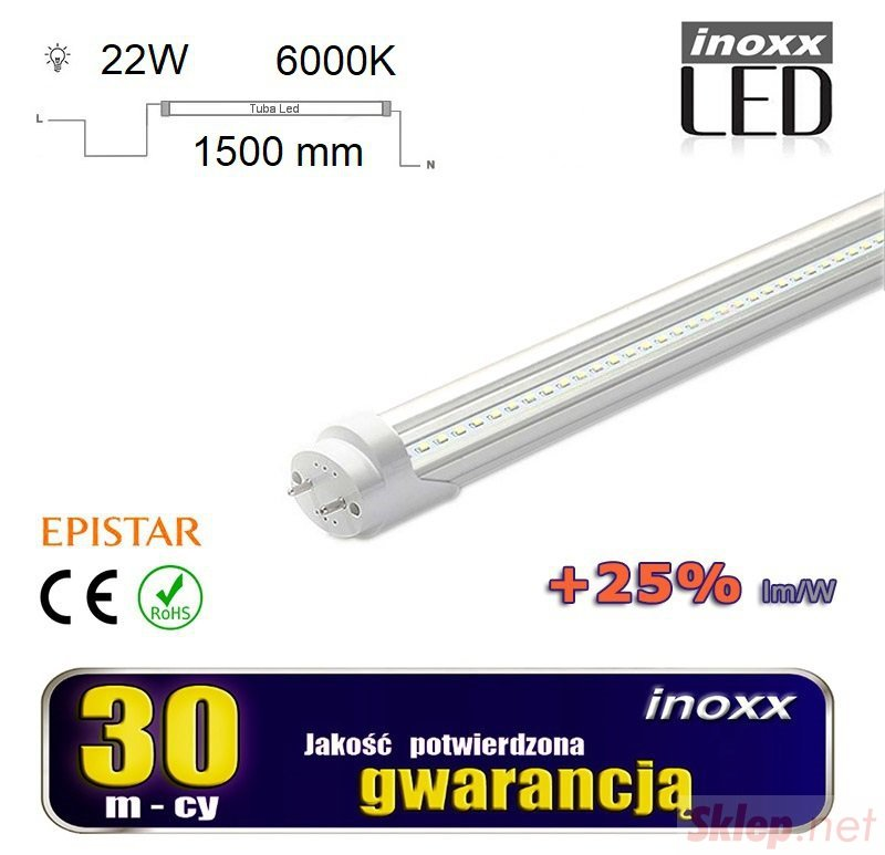 Świetlówka led 150cm 22w t8 6000k g13 zimna przezroczysta