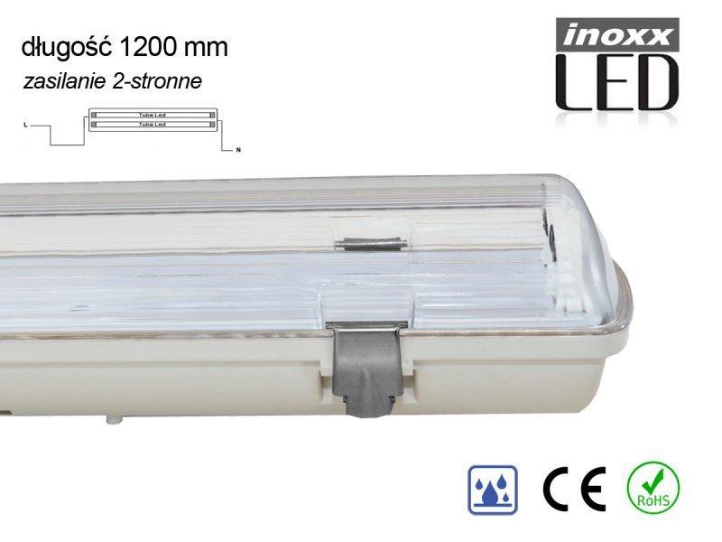 Oprawa hermetyczna przemysłowa ip65 led 2x120cm t8 g13 dwustronnie zasilana