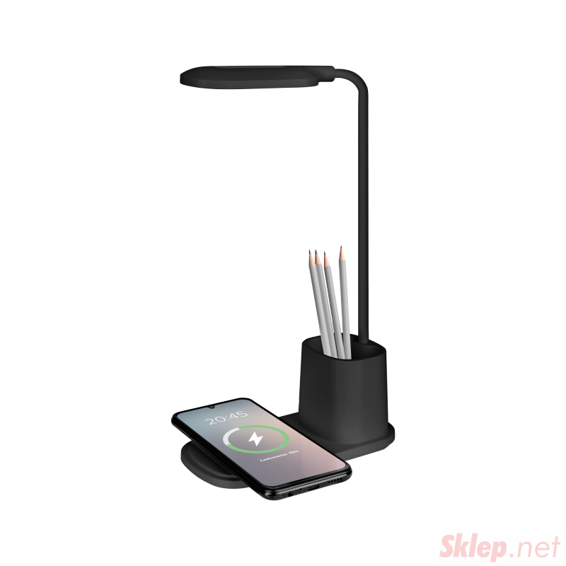 Lampka LED na biurko z ładowarką indukcyjną (czarna)