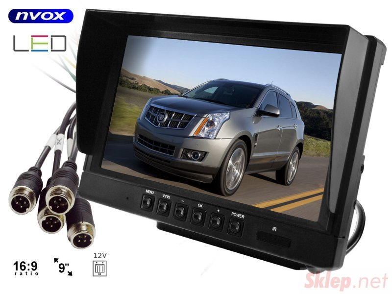 Monitor samochodowy lcd 9cali ahd cofania i monitoringu z obsługą do 2 kamer 12v 24v