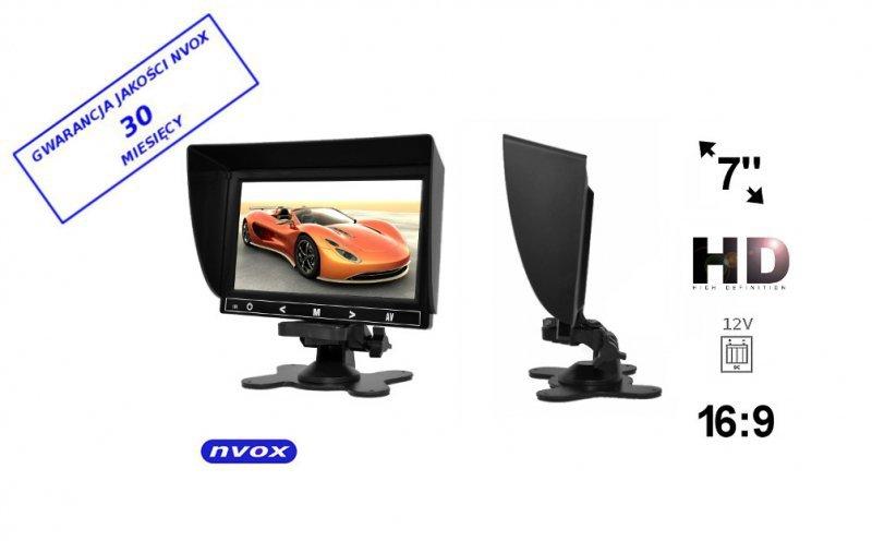Monitor samochodowy lub wolnostojący LCD 7cali cali HD AV z obsługa do 2 kamer 4PIN 12V... (NVOX