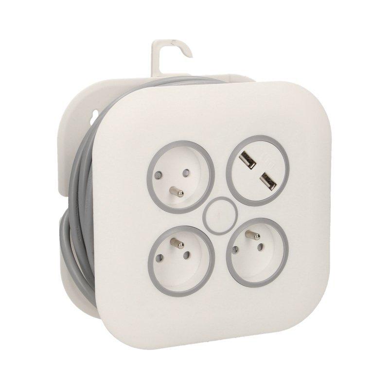 Przedłużacz zwijany, 3 gniazda 2P+Z, płaska wtyczka, ładowarka USB, polwinit H05VV-F 3x1mm? , długość 7m
