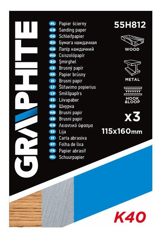 Papier ścierny 115 x 160 mm, otwory, perforacja do odrywania, rzep. K40, 3 szt.