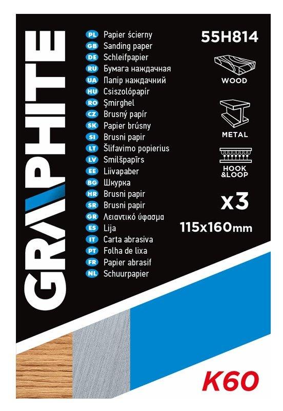 Papier ścierny 115 x 160 mm, otwory, perforacja do odrywania, rzep. K60, 3 szt.