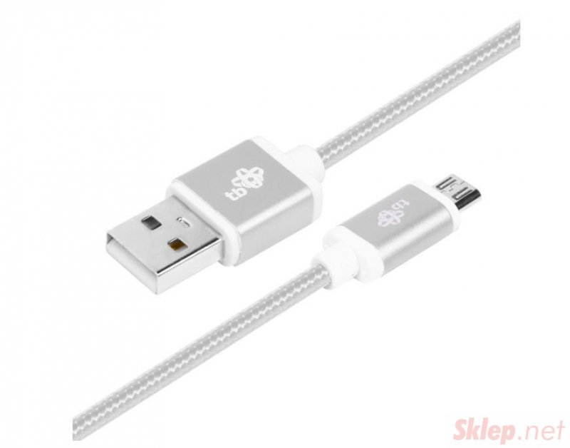 Kabel USB-Micro USB 2 m srebrny sznurek