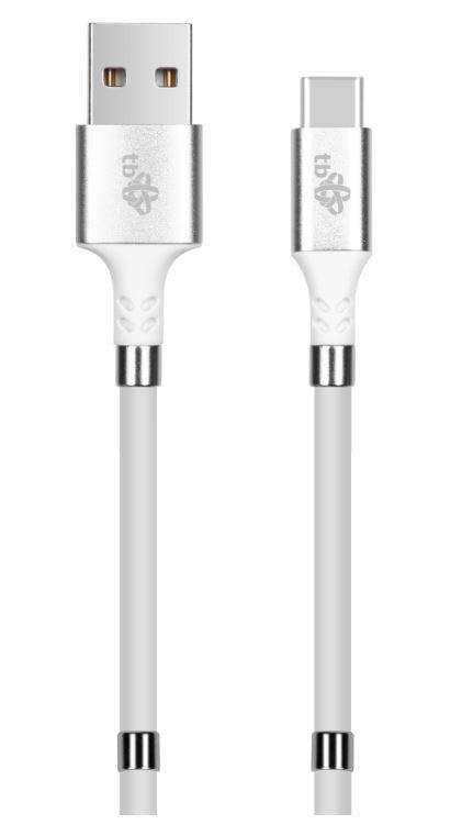 Kabel USB C- USB biały zwijany z magnetycznymi spinaczami