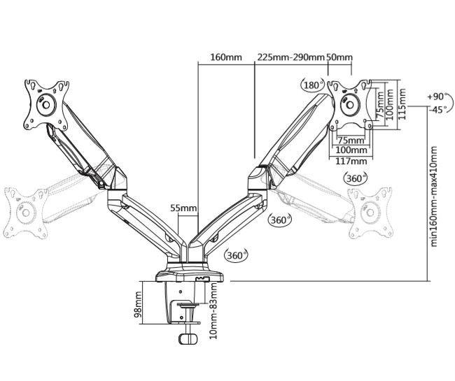 Uchwyt do monitorów na sprężynie gazowej TB-MG2 do 27 2x8kg