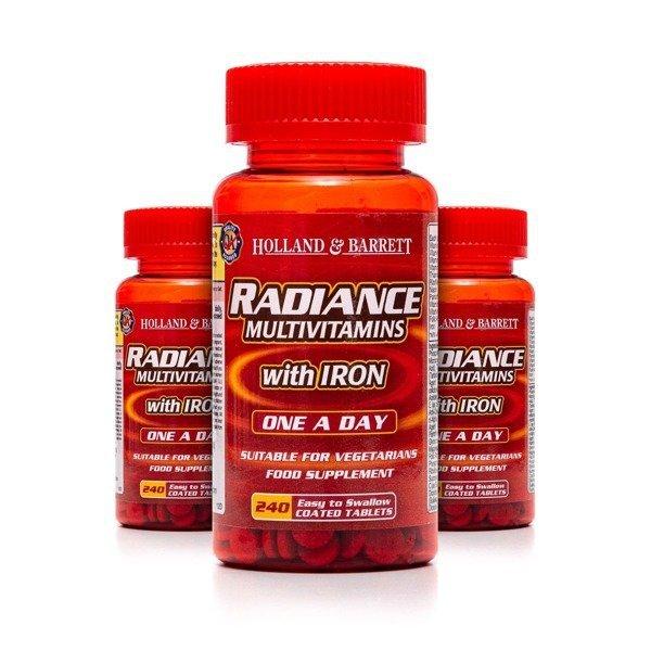 Zestaw 2+1 (Gratis) Radiance Multiwitaminy i Żelazo 1 na Dzień 240 Tabletek