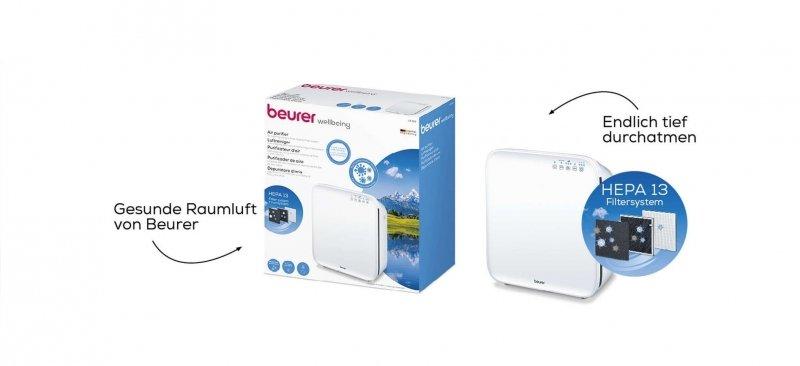 BEURER LR 310 Oczyszczacz powietrza 3-warstwowy system filtrowania (filtr wstępny + filtr z aktywnym węglem + filtr HEPA)