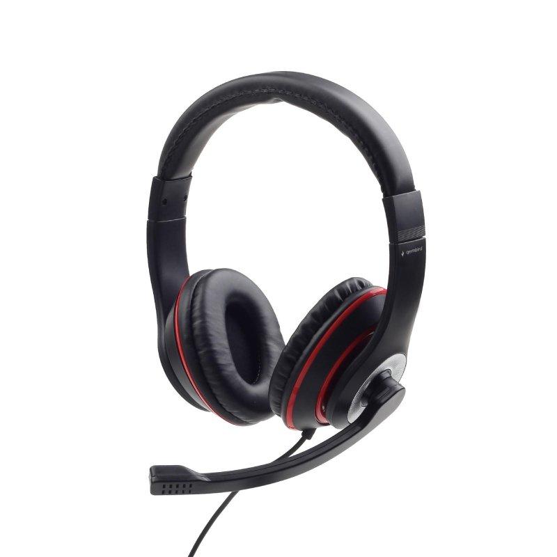 Słuchawki nauszne stereo z mikrofonem na wysięgniku Gembird MHS-03-BKRD