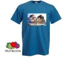 Niebieska koszulka t-shirt z nadrukiem a4