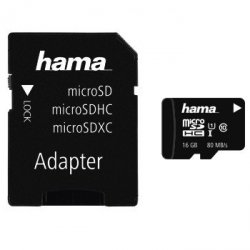 Karta pamięci hama micro sd + adapter 16gb c10 80mb/s