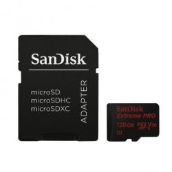 Extreme pro microsdxc 128gb + sd adapter + rescue pro deluxe 95mb/s v30 uhs