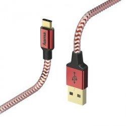 Kabel ładujący/data Reflected - odblaskowy usb type-c - usb-a , 1.5m, czerwony