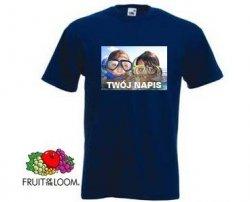 Granatowa koszulka t-shirt z nadrukiem a4