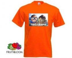 Pomarańczowa koszulka t-shirt z nadrukiem a4