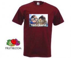 Bordowa koszulka t-shirt z nadrukiem a4