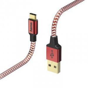 Kabel ładujący/data Reflected - odblaskowy USB Typ-C - USB-A 1.5m czerwony - Hama