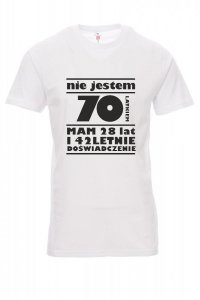 Koszulka biała - znakowanie - nie mam 70 lat