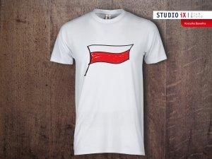 Koszulka biała Flaga Polski - Studioix.pl