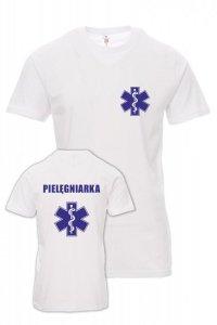 Koszulka biała - znakowanie - PIELĘGNIARKA