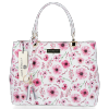 Vittoria Gotti Modna Torebka Skórzana Elegancki Kuferek Made in Italy we wzór malowanych kwiatów Multikolor Różowa