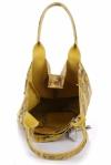 VITTORIA GOTTI Made in Italy Modna Torebka Skórzana w Kwiaty Multikolor - Żółta